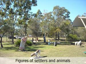 Sculptures of settlers in Wook-Koo Park